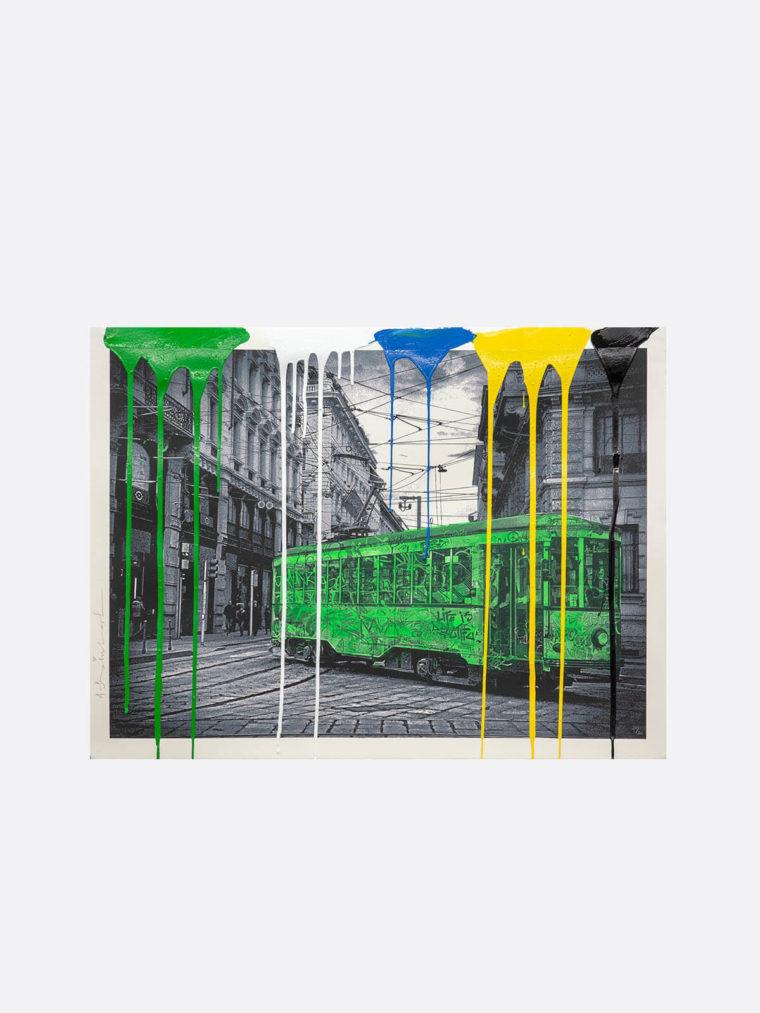 Mr.Brainwash-Life-is-beautiful-Tram-green