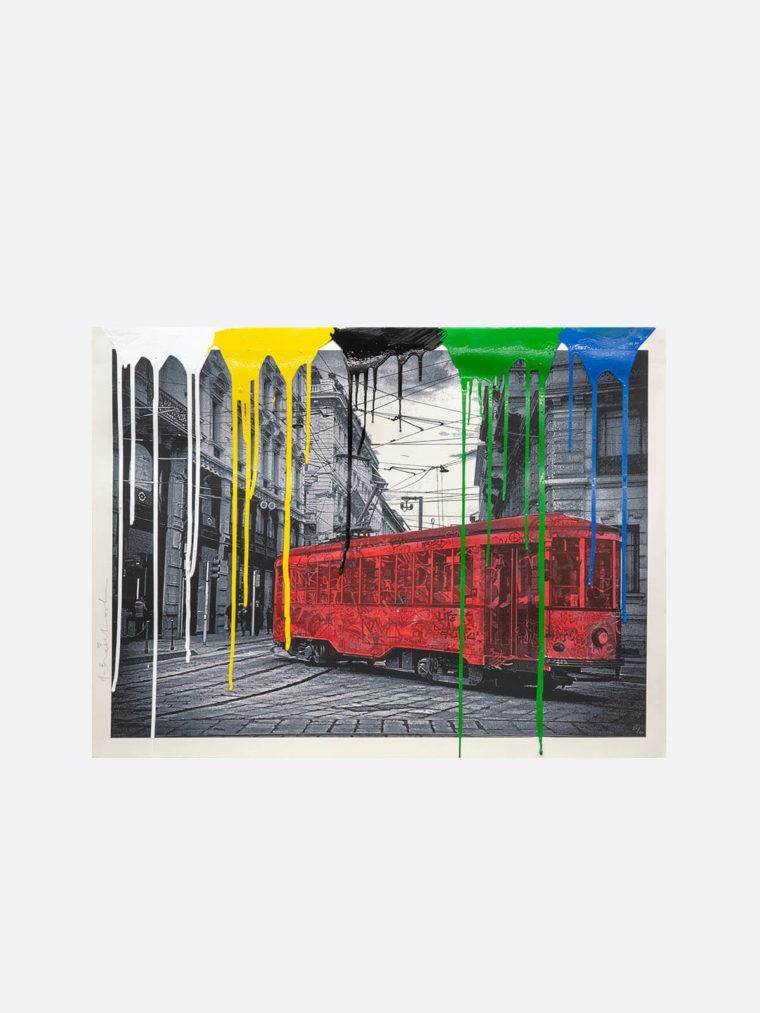 Mr.Brainwash-Life-is-beautiful-Tram-red