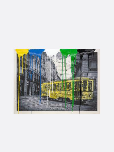 Mr.Brainwash-Life-is-beautiful-Tram-yellow