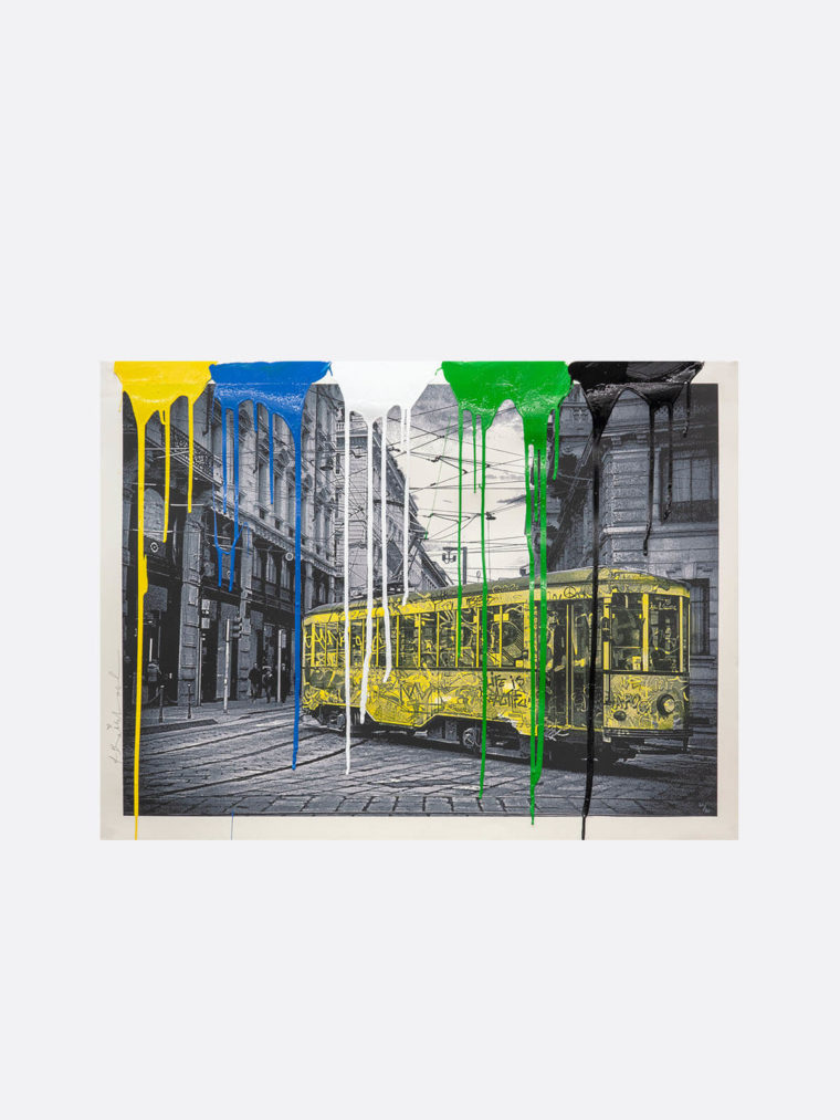 Mr.Brainwash-Life-is-beautiful-Tram-yellow